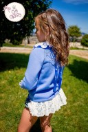 Light Blue Checked Blouse, Crown Sweater & Ruffle Shorts Set