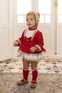 Dolce Petit Baby Girls Red 3 Piece Dress Set with Ivory Ruffles