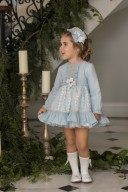Dolce Petit Girls Light Blue Tulle & Camel Embroidered Dress