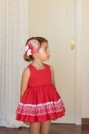 Dolce Petit Vestido Niña Plumeti & Bordado Rojo