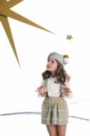 Gray & Mustard Check Print Dungaree Skirt & Ivory Viscose Blouse Set