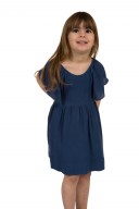 Blue Viscose Cross Back Dress