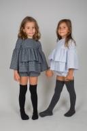 Charcoal Gray Polka Dot Ruffle Blouse & Short Set