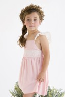 Girls Pink & Ivory Elastic V Back Lace Dress