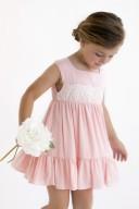 Girls Pink & Ivory Lace Dress