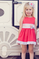 Girls Coral & Beige Dress with Bow