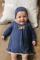 Baby Blue & Beige Knitted Dress with Velvet Bow