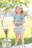 Girls Pastel Green Sweater & Ruffle Lace Skirt Set