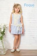 Pale Blue & Ivory Polka Dot Dress