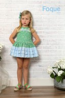 Green & Blue Floral Cotton Dress with Ruffle Skirt