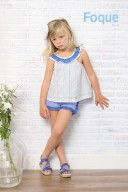 White Cotton Top & Blue Check Print Short Set