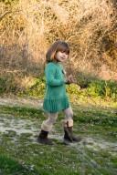 Green Knitted & Velvet Bow Dress