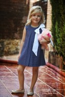 Navy & White Polka Dot Cotton Dress with Maxi Bow