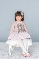 Dusky Pink & Brown Dress with Brocade Skirt
