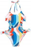 Rochy Trikini Niña Volantes & Lazos Estampado Pop Multicolor
