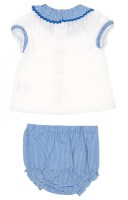 White Cotton Shirt & Navy Stripe Shorts Set