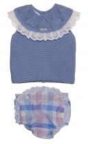 Baby Lilac Sweater & Check Print Knickers Set