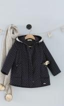 Girls Navy & White Polka Dot Padded Jacket