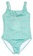 Green & Pink Flamingo Swimsuit with bow