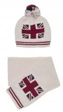 Beige Knitted Union Jack Hat & Scarf Set