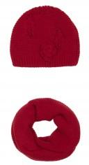 Dark Red Alpaca Wool Hat & Snood Set