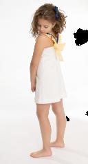 White Brocade Dress & V Neck & Bow