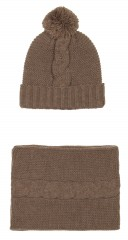 Gray Alpaca Wool Hat & Snood Set