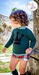 Boys Green Checked Shirt, Crown Sweater & Wool Shorts Set