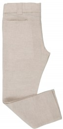 Boys Beige & White Linen 3 Piece Suit
