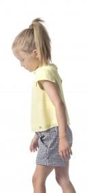 Girls Blue & Ivory Geometric Print Shorts