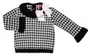 Black & White Houndstooth Sweater With Ruffle Collar & Pink Bow