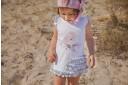 White & Pink Bird Cotton Beach Dress