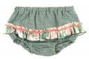 Ivory & Green Trim Knitted Sweater & Ruffle Shorts Set