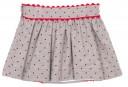 Gray & Red Striped Shirt & Polka Dot Skirt Set