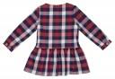 Girls Navy Blue & Red Check Print Dress
