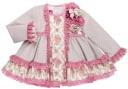 Baby Girls Beige & Pink Flower Print 2 Piece Dress Set