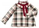 Burgundy & Gray Check Print Blouse & Short Set