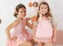 Pastel Pink & Beige Cotton Lace 3 piece Dress Set
