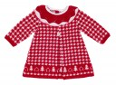 Red & White Knitted Houndstooth Dress