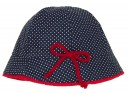 Navy & White Polka Dot Sun Hat with red bow