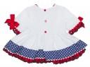 Baby Girls White & Polka Dot 2 Piece Dress Set