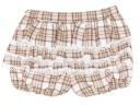 Girls Beige Check Print Frilly Shorts
