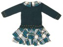 Green Knitted Spaniel Sweater & Checked Tiered Skirt Dress