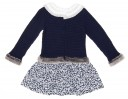 Blue Knitted Sweater Dress with Polka Dot Skirt